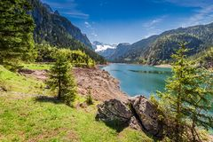 Mountain lake in Gosau at spring, Alps, Austria. Europe Stock Images