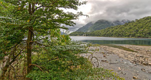 Mountain lake gray clouds green hills and trees Stock Images