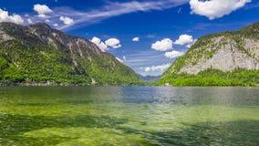 Mountain Lake in Hallstatt on a sunny day in summer stock video