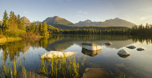 Mountain lake.High resolution panorama of the lake in Strbske Pleso Stock Images