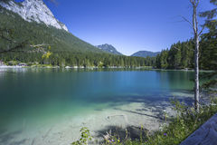 Mountain lake Hintersee in Bavaria, Germany Royalty Free Stock Images