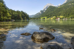 Mountain lake Hintersee in Bavaria, Germany Stock Photo