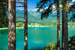 Mountain Lake. Holidays. Mountain Lake in the Peloponnesus, Greece. Clean water, air, forests and beautiful nature Stock Photo