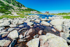 Mountain lake and hotel Stock Photography