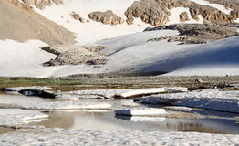 Mountain lake with iceberg and snow Royalty Free Stock Photo