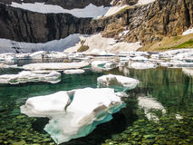 Mountain lake with icebergs, glacier national park, usa Stock Image