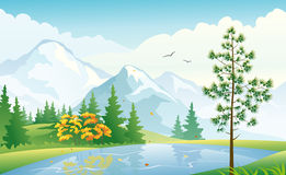 Mountain lake. Illustration of an autumn forest at the mountains Stock Image
