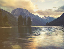 Mountain lake in the Italian Alps,retro colors, vintage Stock Image