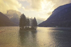 Mountain lake in the Italian Alps,retro colors, vintage Royalty Free Stock Photography