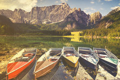 Mountain lake in the Italian Alps,retro colors, vintage Royalty Free Stock Images