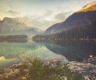 Mountain lake in the Italian Alps,retro colors, vintage Stock Photo