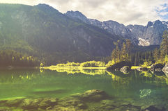 Mountain lake in the Italian Alps,retro colors, vintage Stock Photos
