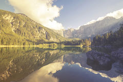 Mountain lake in the Italian Alps,retro colors, vintage Royalty Free Stock Photo