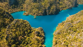 Mountain lake Kayangan on a tropical island, Philippines, Coron, Palawan. stock footage