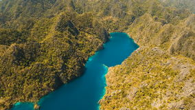 Mountain lake Kayangan on a tropical island, Philippines, Coron, Palawan. stock video footage