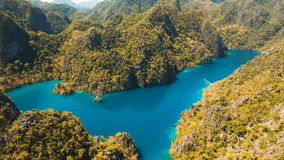 Mountain lake Kayangan on a tropical island, Philippines, Coron, Palawan. stock video