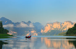Mountain in the Lake khao sok National Park. Thailand. Stock Image