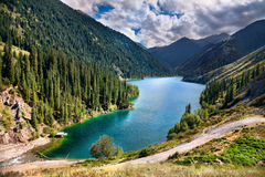 Mountain lake Kolsai in Kazakhstan Stock Images