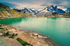Mountain lake. Lac Blanc, Chamonix. France Royalty Free Stock Photo