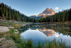 Mountain lake, Lago Antorno, Dolomites Stock Photos
