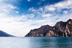 Mountain lake Lago di Garda view. From Riva del Garda side Stock Image
