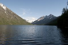 Lower Multinskoye lake, Altai Republic. Mountain lake, lake in the mountains, green water, pure mountain lake, snow-capped mountains Stock Photography