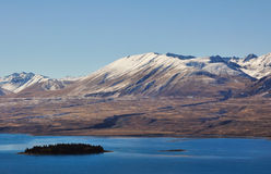 Mountain and lake in Lake Tekapo New Zealand. View of mountain in New Zealand Stock Photo