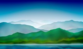 Mountain lake landscape colorful nature background. Blue mountain green hills landscape. Vector background. Mountain lake landscape, colorful nature background vector illustration