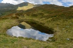 Mountain lake landscape in Europe Tyrol Alps travel stock image