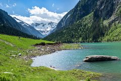 Free Mountain Lake Landscape In The Alps, Austria, Tyrol, Stilluptal Lake, Zillertal Alps Royalty Free Stock Photo - 150259745