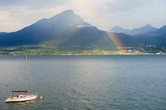 Mountain lake landscape in Italy Stock Photo