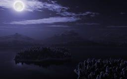Mountain lake landscape vector illustration