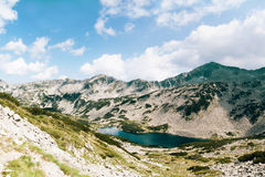 Mountain lake landscape panorama. Royalty Free Stock Photos