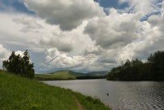 Mountain & Lake Landscape. Panorama Ribnik lake located on the mountain Zlatibor in Serbia Royalty Free Stock Photo