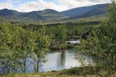 Mountain lake in landscape of polar region. Royalty Free Stock Image