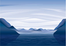 Mountain lake. Landscape vector wallpaper royalty free illustration