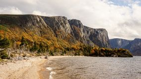 Mountain and Lake landscapes at the Western Brook Pond in Gros Morne National Park in Newfoundland, Canada.  royalty free stock photo