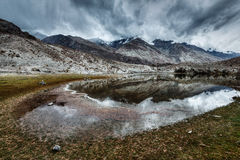 Mountain lake Lohan Tso in Himalayas Royalty Free Stock Image