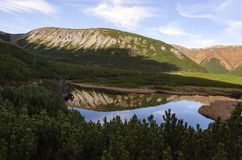 Mountain and lake. Mirror reflection mountains in lake royalty free stock photo
