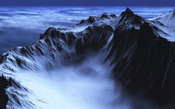 Mountain Lake of Mist. A lake of mist is nestled in the valley of some rugged mountains - 3d render Stock Photography