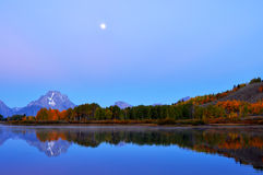 Mountain lake moon reflections. Royalty Free Stock Photo