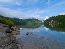 Mountain lake morning. Mountain lake in Alps at morning Royalty Free Stock Image