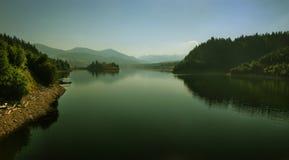 Mountain lake morning great summer view stock photo
