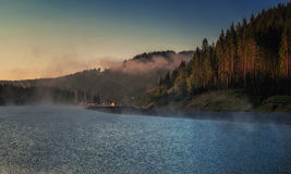 Mountain lake in morning light in Bukovel village, Carpathia Stock Photography