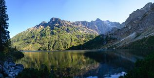 Mountain lake Morskie Oko in Tatra National Park, Poland. Picturesque lake in the mountains landscape stock photos