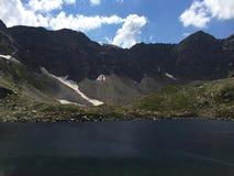 Mountain lake. Mountain landscape. Mountain range view from Caucasus. Mountain lake. Mountain landscape Stock Photos