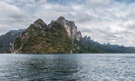 Mountain lake. The mountains around the reservoir Khao sok. Thailand Stock Images