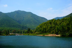 Mountain and Lake. Moutain and lake, China, tree, sky Royalty Free Stock Photography