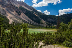 Mountain lake. Moutain lake surrounded with heath and steep slopes Royalty Free Stock Photos