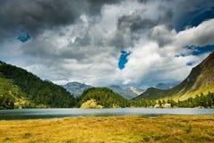 Mountain lake near maloja. Mountain lake newar maloja, engadin, switzerland Royalty Free Stock Photo